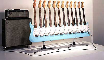 12 neck guitar on its stand